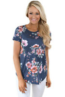 Short Sleeve Round Neck Floral Printed Top Size 6-22