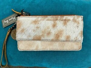 Myra Bag Zipper Flap Card Fur Wallet Leather Cowhide Animal Wristlet Strap S2729