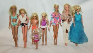 Vintage Barbie Dolls Kelly Chelsea Skipper Stacie Lot of 8 w/Clothes Blonde Nice