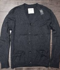 Abercrombie & Fitch Men's Charcoal Lightweight Cotton Cardigan Sweater 2XL