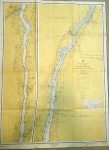 VINTAGE NAUTICAL CHART MAP NEW YORK Wappinger Creek to Hudson