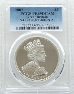 2002 Royal Mint Golden Jubilee £5 Five Pound Silver Proof Coin PCGS PR69 DCAM
