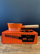 More details for mini moderns tangerine dream enamelware 800ml saucepan wood handle unused boxed