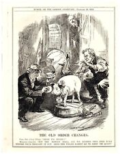 Prime Minister Asquith Stalls Bringing Out Irish Home Rule Pig Punch Cartoon `9P