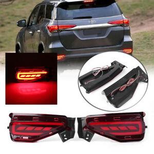 2x LED Rear Bumper Lamps Fog Brake Tail Lights For Toyota Fortuner 2015-2017 cl