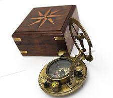 Brass Sundial Compass - Sundial Compass with Hardwood Case