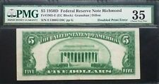 Fr 1965-E 1950D $5 Frn Richmond 《Scarce Quadrupled Back Printing》Pmg Vf35