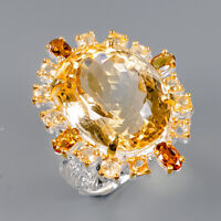 Citrine Ring Silver 925 Sterling 21x16 mm. IF 30 ct Size 8.5 /R145116