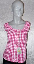 Almsach Trachten Bluse mit Schnürung hinten pink/weiß kariert Größe 34 Neuwerti