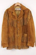 Vintage Men's Schott Western Suede Leather Fringed Jacket Sz 42 Made in USA