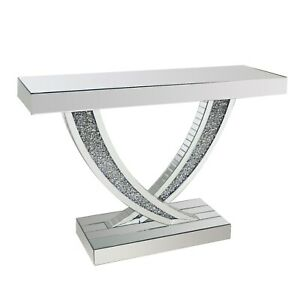 Narrow Mirrored Hall Console Table with Crushed Crystal Finish - Jade Boutique