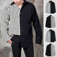 Men Patchwork Design Fashion Striped Shirts Long Sleeve Streetwear Loose Top Tee