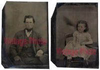 Two Beautiful Early Antique Tintypes - Father & Daughter with Rose Tinted Cheeks