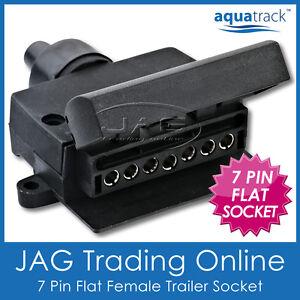 7 PIN FLAT FEMALE TRAILER LIGHT PLUG CONNECTOR SOCKET - Caravan/Boat/Car/Truck