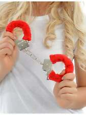 HEN NIGHT PARTY RED FURRY HANDCUFFS RED FLUFFY HANDCUFFS POLICE ACCESSORIES