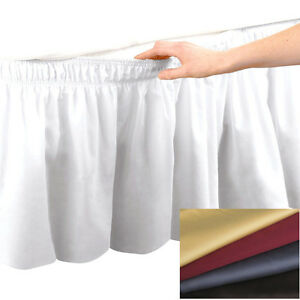 "Elastic Bed Skirt Dust Ruffle Easy Fit Egyptian Cotton 14""Drop Choose Size Color"