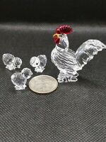 Swarovski crystal Animal figurine Chicken rooster family set of 4 Collectible