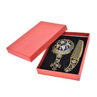 2x Bronze Handheld Mirrors Hollow Cosmetic Compact Mirror Comb Set Gift Box CP@V