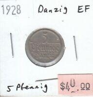 Danzig 5 Pfennig 1928 XF Extra Fine