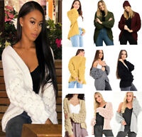 Ladies Womens Bubble Sleeve Knitted Cardigan Chunky Knit Jumper Bobble Sweater