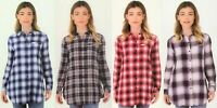 Boston Traders Womens Flannel Plaid Button Down Shirt Tunic Long Sleeve