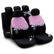 Car Seat Covers For Women Universal Airbag Compatible Pink Flower Embroidery