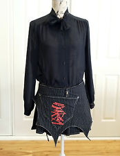 Black Gothic Skirt, Punk Mini Layered, Goth Lolita Skirt Size Medium