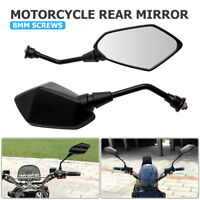 Universal 8mm Motorcycle Electric Motorbike Wing Side Rearview Mirror Black