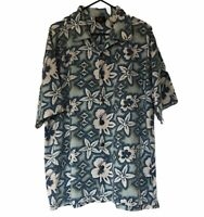 Piping Hot Men's Blue Hawaiian Button-up Floral Shirt Size XL Short Sleeve