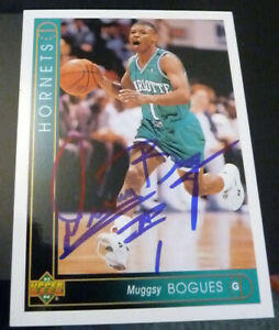 Muggsy Bogues SIGNED 1993-94 Upper Deck #1 Charlotte Hornets AUTOGRAPH Wake