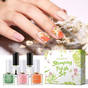 BORN PRETTY 5Pcs/Set 6ml Spring Series Stamping Polish Nail Latex Nail Varnish