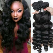 1/3/4 Bundle Virgin Brazilian Human Hair Weave Extensions Loose Wave Weft USA
