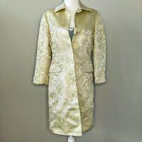 Vintage Y2K Banana Republic 100% Silk Metallic Jacquard Paisley Long Jacket
