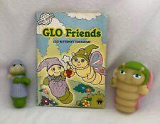 Vintage 1986 Hasbro GLO FRIENDS Butterfly Worm MINI WORLD Book Finger Puppet +