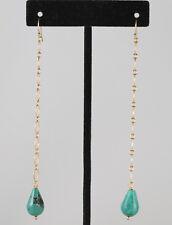 "Greenwood Designs Turquoise Gold Chain Link 4"" Drop Chandelier Hook Earring"