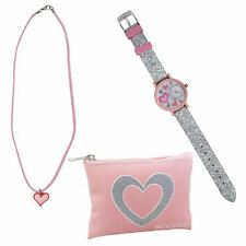Tikkers Girls Pink Glitter Analogue Watch Necklace & Coin Purse Childrens Gift