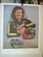 VINTAGE NASCAR KYLE PETTY JEANNE BARNES LTD. ED. PRINT SIGNED BY KYLE AND JEANNE