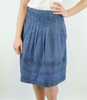 NEW MONSOON Blue 73 Ellis Denim Lightweight Embroidered Pretty Skirt Save £32