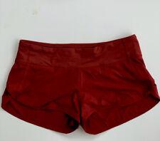 """Lululemon 8 Rosewood Red Speed Shorts Lined 2.5"""" EUC"""