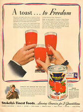 1942 WW2 Era AD STOKELY'S Tomato Juice Working for Uncle Sam 082815