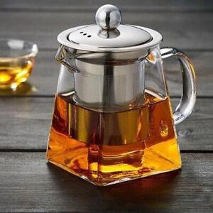 Teekanne Glas mit Sieb 750ml Edelstahl Filter Tee Bereiter Kanne Zubereiter Set