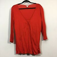 H&M MAMA Maternity Top Size Large Red Long Sleeve Shirt Blouse