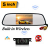 Backup Camera Built-in Wireless Kit 5'' Monitor Rear View System For Reversing