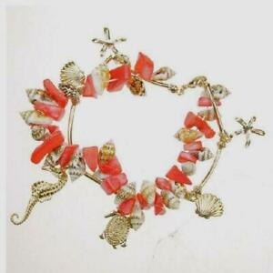 """Coral Shell Gold Charm Bracelet Sea Life Turtle Seahorse Starfish 8"""" Plated USA"""