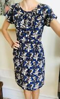 100% Silk dress NW3 Hobbs Purple Butterfly Print Uk 6 8 Fitted Summer Pockets
