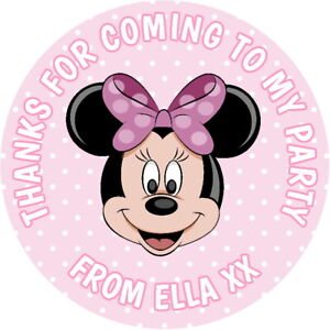 PERSONALISED GLOSS MINNIE MOUSE  BIRTHDAY PARTY BAG SEALS  SWEET CONE STICKERS