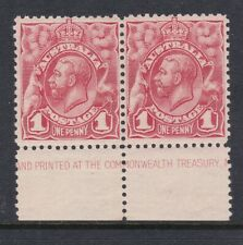 1913 1d Pale Red (Plate 1) KGV Engraved, Bottom part Imprint pair,  MLH