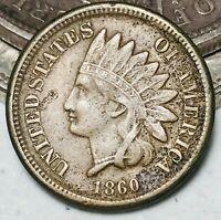 1860 Indian Head Cent Penny CN 1C High Grade Choice Civil War Era US Coin CC6008