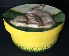 Easter Bunny Rabbits Paper Mache Medium/Large Gift Box