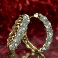 18k yellow white gold gf made with SWAROVSKI crystal huggies hoop earrings